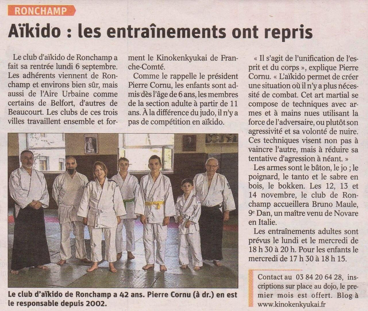 Read more about the article Rentrée de saison sur l'Est Républicain de Ronchamp